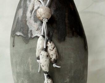 Handmade raku ceramic necklace, white, black