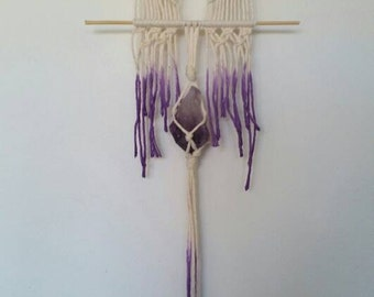 Small macrame hanging with amethyst, dip dyed on bamboo driftwood