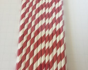 25 PAPER STRAWS STRIPES Red