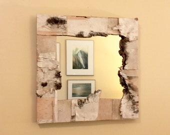 Birch Bark Mirror. Wall Birch Mirror. Decorative Mirror