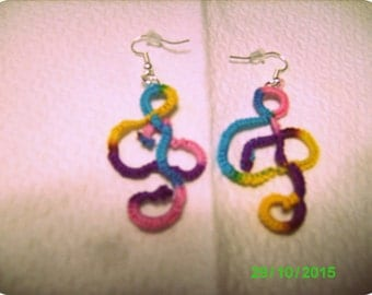 tatted earrings multicolor