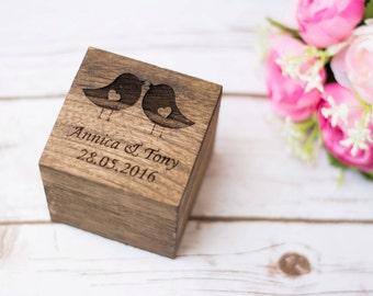 Wedding Ring Box Love Birds Ring Box Rustic Wedding Ring  Bearer Personalized Wedding Ring Holder Ring Pillow Love Bird Wedding