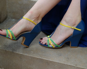 Multicolor offset leather sandals