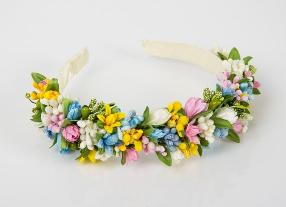 Spring wreath/ colorful primroses floral crown/ sping headpiece/ ukrainian headband/ yellow blue pink white flower crown