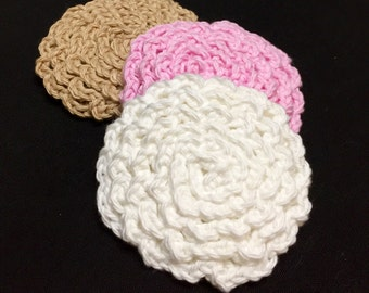Crochet Face Scrubby, Flower Face Scrubby, Set of 3, Cotton Face Scrubby