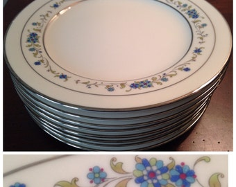 Salad Plates Noritake Ivory China - Norma 7016 - Set of 8 / Vintage Dinnerware / Blue Floral Fine China - Japan
