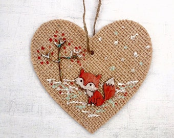 Christmas decoration woodland fox, christmas tree Decoration, wooden hanging heart, Home decor, wood winter scene, handmade rustic heart.