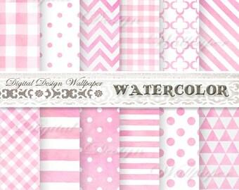 Digital Paper Pink,Pink Digital Paper Pack,Digital Paper Watercolor,Watercolor Digital Paper Pack,Digital Paper Baby Girl,Scrapbook Paper
