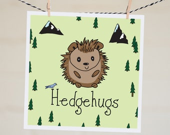 Hedgehugs Card | Cute Hedgehog Illustration | Thinking Of You Card | Anniversary Card | Funny Love Card | Handmade | Happy Birthday Card