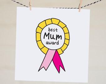 Best Mum Award Card   Best Mom Award Card   Mother's Day Card   Thanks Mum   Thanks Mom   Handmade   Illustration   Funny Mother's Day Card