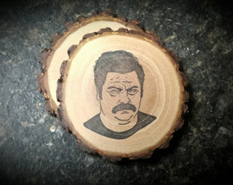 Ron Swanson Handcrafted Natural Wood Whiskey Coaster Set of 2