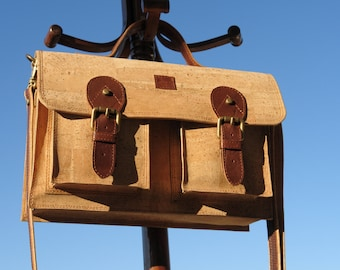 Chunky cork and leather satchel bag