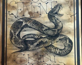 Apothecary Label -Canvas Print - Serpent Skin