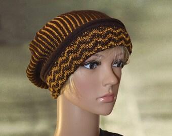 Knit slouchy beret, Wool warm beret, Womens winter hats, Knit wool beret, Winter warm beret, Oversize slouchy hat, Ladies warm beret