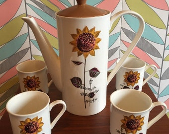 Vintage Lord Nelson 'Sunflowers' Coffee Pot Set