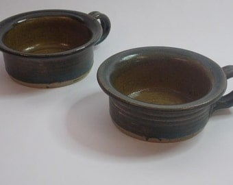 Two Original Jerry Hovanec Handled Soup Bowls