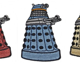 Doctor Who SET OF 3 Red, Yellow & Blue DALEK Iron-on/Sew-on Embroidered Patches