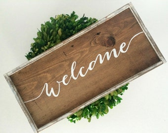 Welcome Rustic Handcrafted Wooden Sign