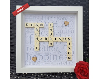 scrabble frame wedding frames engagement frames couples frame wood picture frames scrabble wall art scrabble pictures hand made
