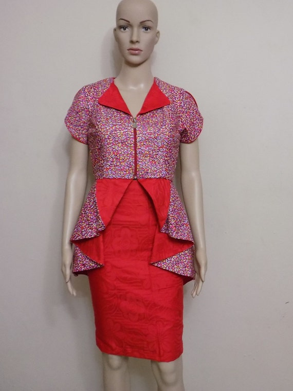 high low peplum blouse with pencil skirt