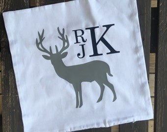 Deer pillowcase with boy monogram