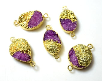 Gold Electroplated Purple Druzy Connector, Gemstone Connector, 5 Pieces, 15x30mm To 20x35mm Each