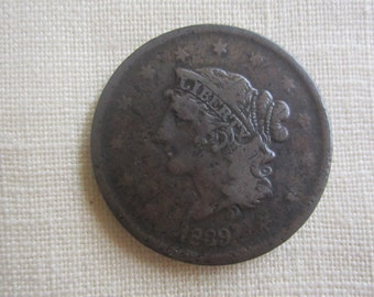 1839 One Cent ,Matron Head Modified,Coronet Copper Coin.