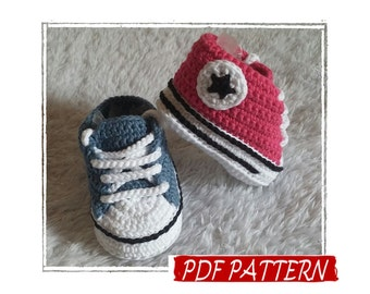 PDF Pattern in ITALIANO e US! Scarpine bimbo a uncinetto stile Converse, crochet baby sneakers Converse style