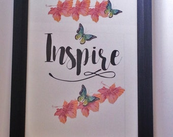 """Typography A4 Print on Paper , Poster """"Inspire"""" Quotes,  Modern Wall Art, Home Decor"""