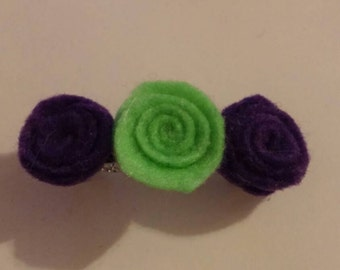 Lime green and purple small rose barrette