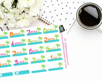 Planner Stickers |9 week Tropical Palm Tree Countdown|Tropical Vacation Countdown|Vacation Countdown Stickers| CD003