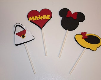 Minnie Mouse Cupcake Toppers, Disney Theme Cupcake Toppers, Set of 12