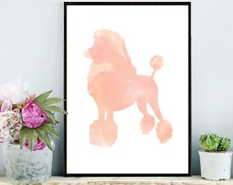 Poodle Print, Printable Art, Dog Print, Watercolor Poodle, Pink Poodle, Instant Download, Wall Decor, Wall Art