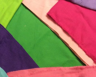 FLANNEL FABRIC SCRAP Bundle / Assorted Solid Colors - Purple Blue Pink Green Cotton Flannel