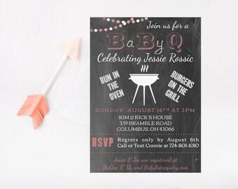 Baby Shower Invitation - Printable - Backyard BBQ Invite - Digital Download