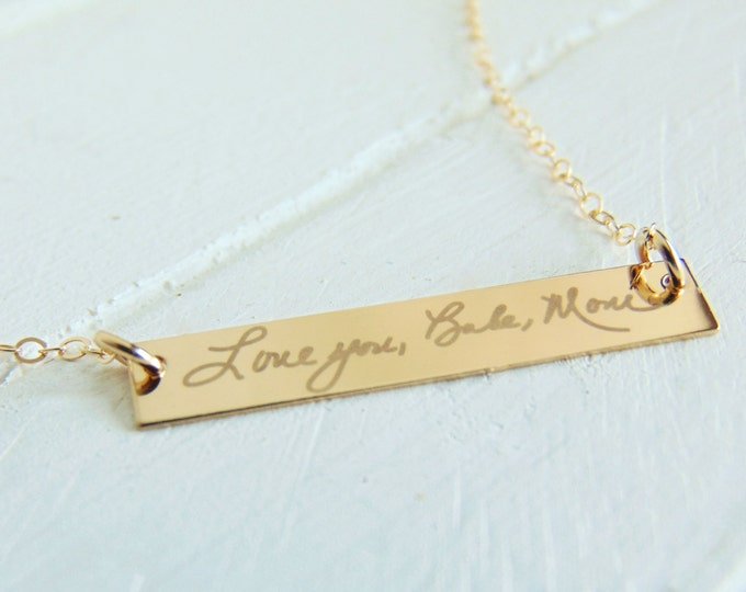 Handwritten Horizontal Bar Necklace - YOUR HANDWRITING, or Custom Text Options- With White Engraving - Sterling Silver, Gold or Rose Gold