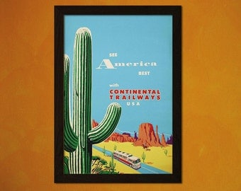 See America With Continetal Trailways - Vintage Travel Poster Travel Wall Art Travel Decor Birthday Gift Idea Travel Wall Decor
