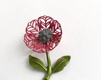 Vintage Pink Flower Brooch