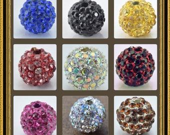 Rhinestone Shamballa Beads 8mm/10mm/12mm Bling ball rhinestone beads for rhinestone jewelry, bracelet beads handmade beads metal beads