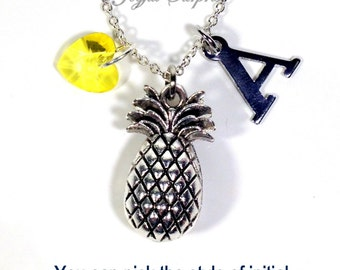 Silver Pineapple Jewelry, Pine apple Necklace, Personalized TTC Gift, Fruit Food letter Conception Symbol Women Men Her him crystal heart
