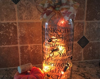 Thanksgiving wine bottle light word collage