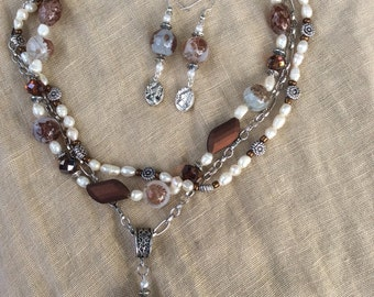 Freshwater Pearls, Crystals, and Glass Bead Necklace w Silver Cameo Pendant and Earrings to Match
