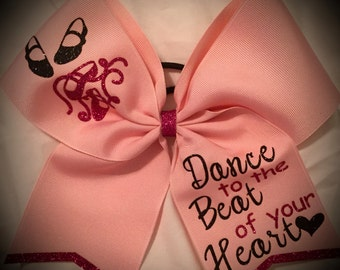 DANCE to the BEAT Bow Dancing Bow Cheer Bow Hair Bow Pink Bow