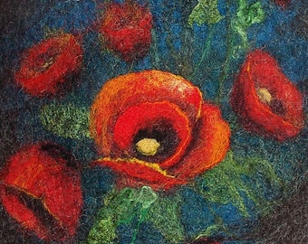 "Felted wool bag-Felted wool purse-Felt bag-Felted purse-Felt handbag-OOAK bag ""Poppies on a dark background"""