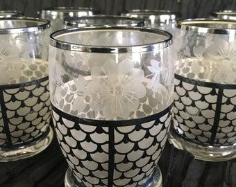 Beautiful Silver Glasses Scalloped Pattern and Etched Flowers Set of 8
