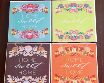 Home Sweet Home Colorful Coasters