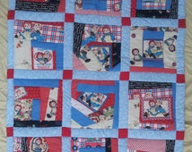 Raggedy Ann Youth Quilt or Crib Quilt; Hand Made Crazy Patch Raggedy Ann Print; Soft flannel back with all cotton top 2016-001J