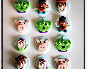 12 x  edible fondant toystory cupcake Toppers