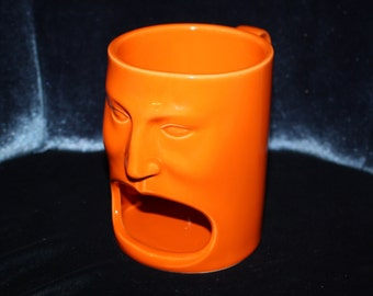 Cordon Bleu Bright Orange Porcelain Face Mug