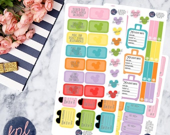 Disney World Vacation Deluxe Planner Kit Planner Stickers. Set of 73. Perfect for Erin Condren Life Planners! DW